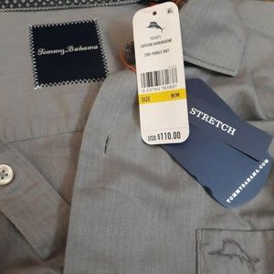 Tommy Bahama Gray Stretch Capeside Mens Shirt M